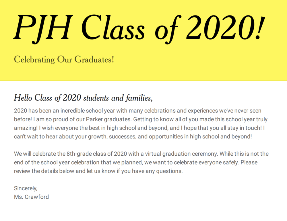 8th-grade Virtual Graduation Plan