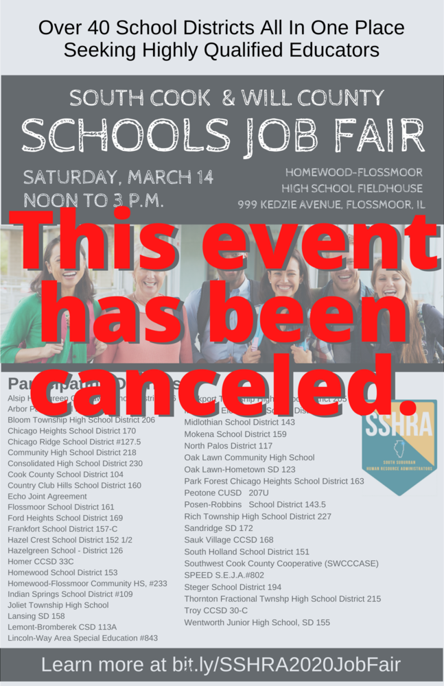 South Cook & Will County Job Fair Canceled