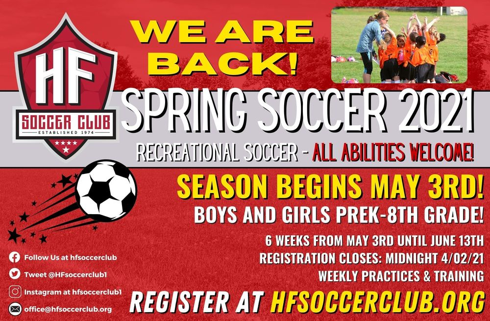 Sign Up for Spring Soccer with HF Soccer Club