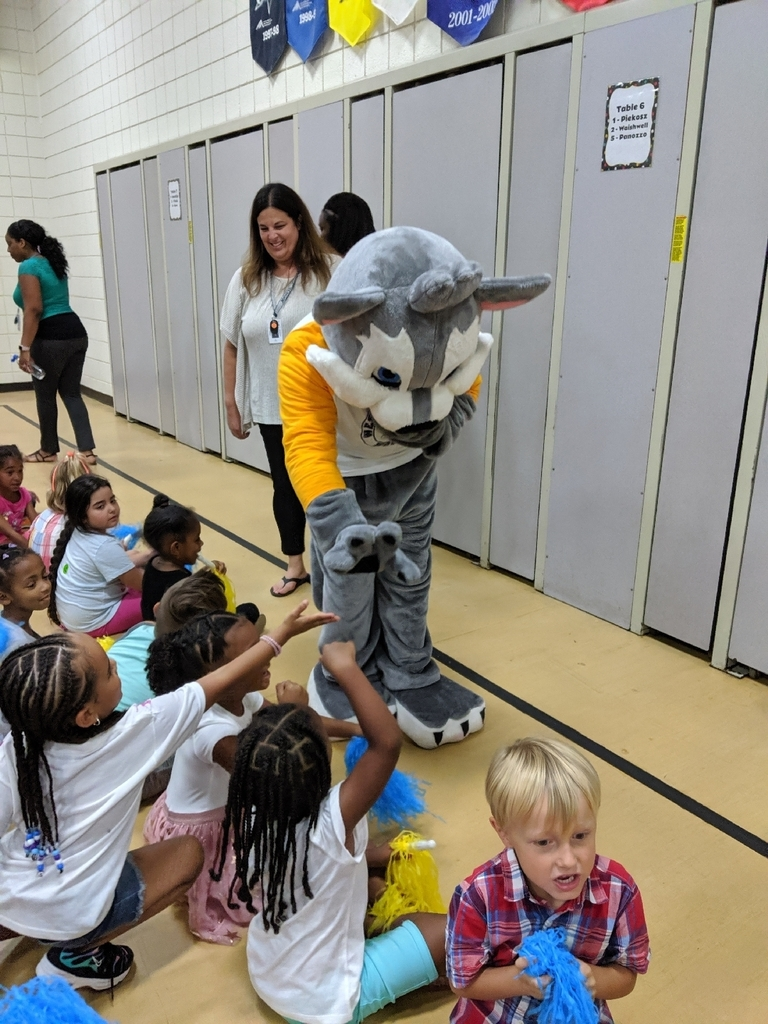 Western wolf mascot giving high fives to students