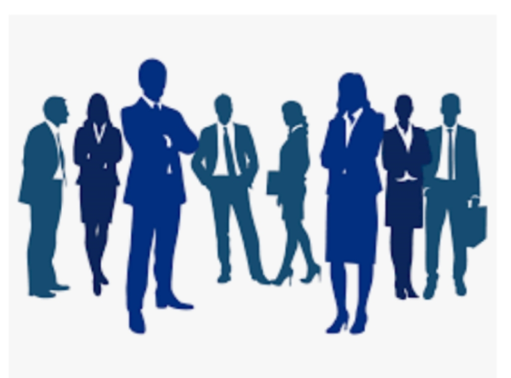 blue clipart image of 4 males and 4 females in business suit silhouettes.
